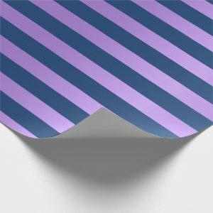 Big Stripes Lines Blue Navy Purple Amethyst Wrapping Paper