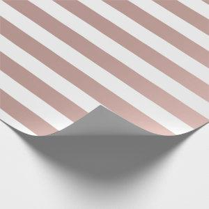 Big Stripes Lines Rose Gold Metallic Effect White Wrapping Paper