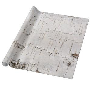 Birch Bark White Rustic  Holiday Gift Wrapping Paper