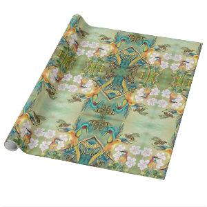 birds and bees giftwrap wrapping paper
