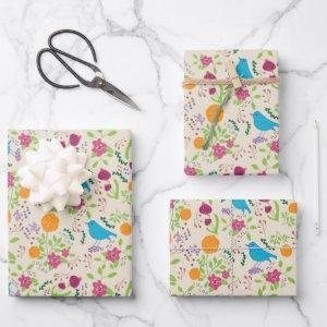 Birds  Flowers Wrapping Paper Flat Sheet Set of 3