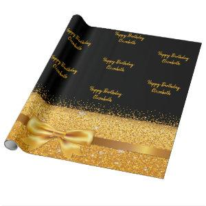 Birthday black gold glitter sparkle name wrapping paper