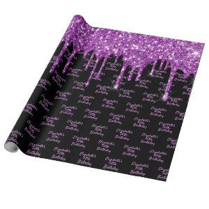 Birthday black purple glitter drips name glam wrapping paper
