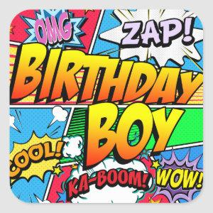 Birthday Boy Comic Book Square Sticker