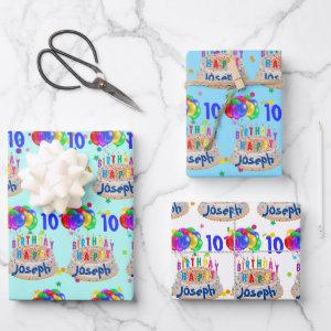 Birthday Cake Balloons Add NAME AGE Boys Wrapping Paper Sheets