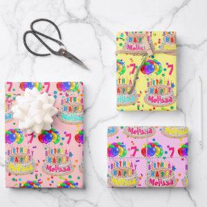 Birthday Cake Balloons Add NAME AGE Girls Wrapping Paper Sheets