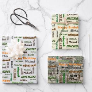 Birthday For Him Repeating Name Set of 3 Wrapping Paper Sheets