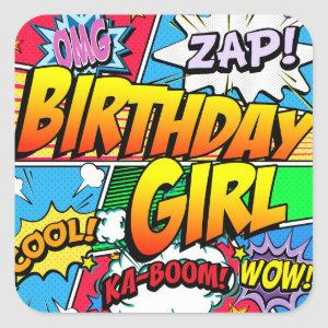 Birthday Girl Comic Book Square Sticker