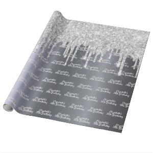 Birthday glitter silver sparkle foil monogram wrapping paper