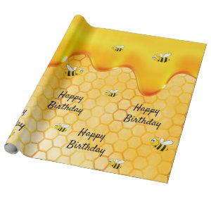 Birthday happy bumble bees honeycomb dripping wrapping paper