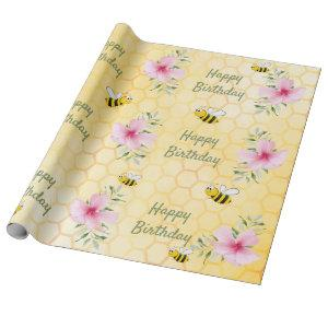 Birthday happy bumble bees honeycomb florals wrapping paper