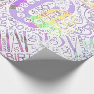 Birthday Number Word Cloud Fifty F ID270 Wrapping Paper
