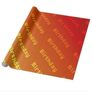 Birthday (orange) wrapping paper