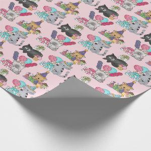 Birthday, Party Cats, Pink, Custom Wrapping Paper