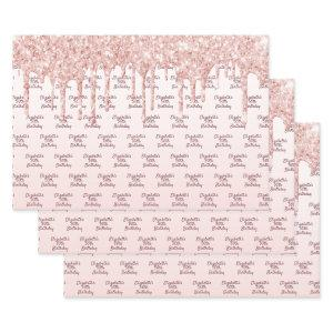 Birthday rose gold glitter drips pink monogram wrapping paper sheets