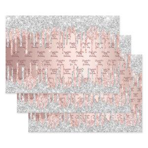 Birthday rose gold glitter drips pink silver name wrapping paper sheets