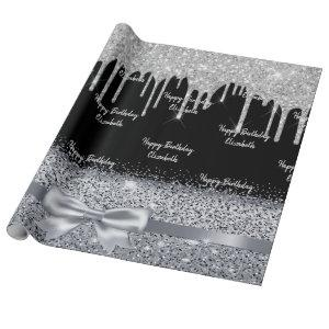 Birthday silver glitter drips black sparkle name wrapping paper