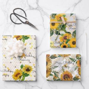 Birthday Sunflowers & Bees Add Name 3 Gift Wrapping Paper Sheets