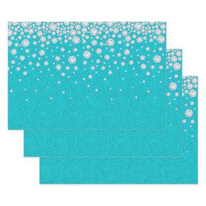 Birthday teal glitter green diamonds luxurious wrapping paper sheets