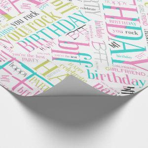 Birthday Word Cloud Best Friend Pink ID273 Wrapping Paper