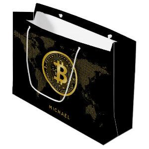 Bitcoin Gold World Black Crypto Personalized Name Large Gift Bag