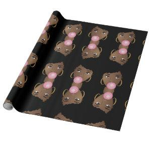Black Afro, Popping Pink BubbleGum Wrapping Paper