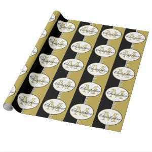 Black and Antique Gold Stripes Monogrammed Wrapping Paper