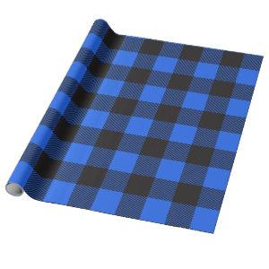 Black and Blue Buffalo Plaid Wrapping Paper