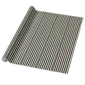 Black and Cream Stripes Wrapping Paper