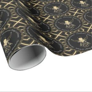 Black and Gold Christmas Angel of Grace Filigree Wrapping Paper