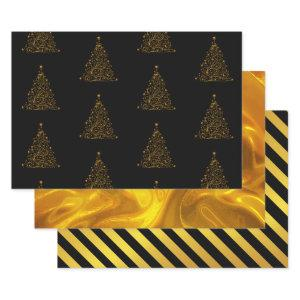Black and Gold Christmas Wrapping Paper Sheets