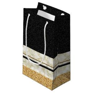 Black and Gold Glitter Marble Small Gift Bag