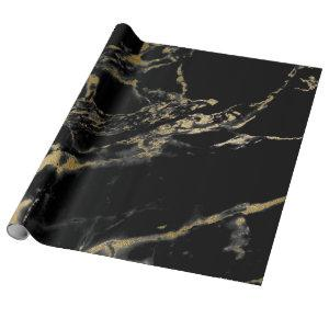 Black and Gold Marble Gift Wrapping Paper