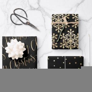 Black And Gold Merry Christmas Snowflakes Set  Sheets