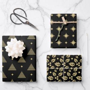 Black and Gold Modern Christmas Pattern Wrapping Paper Sheets