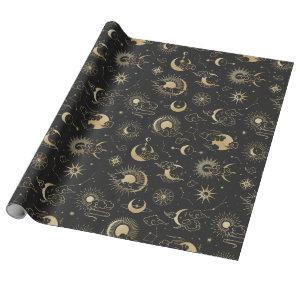 Black and Gold Moon Star Sun Astrology Art Wrapping Paper