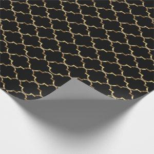 Black and Gold Quatrefoil Seamless Pattern Wrapping Paper