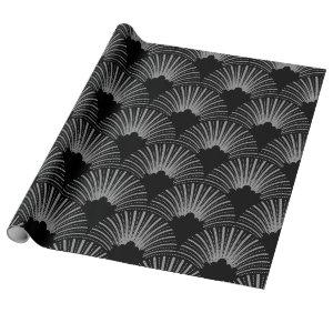 Black and gray art-deco geometric pattern wrapping paper