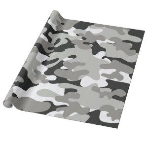 Black and Gray Camo Design Wrapping Paper