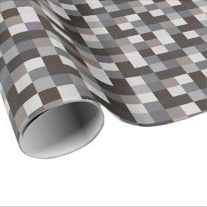 Black and Gray Pixelated Pattern Wrapping Paper
