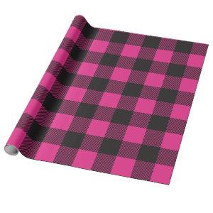 Black and Pink Buffalo Plaid Wrapping Paper