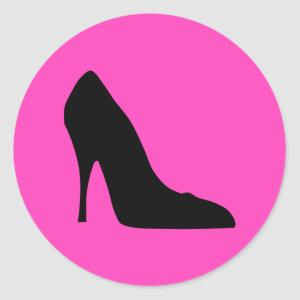 Black and Pink Pumps Classic Round Sticker