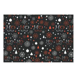 Black and red Christmas Wrapping Paper Sheets
