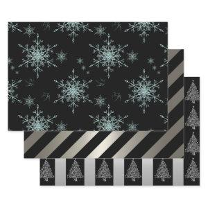 Black and Silver Christmas Wrapping Paper Sheets