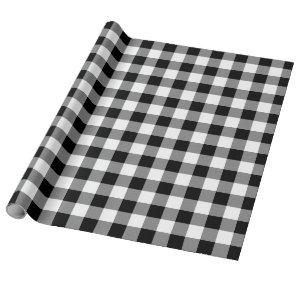Black and White Buffalo Plaid Holiday Wrapping Paper