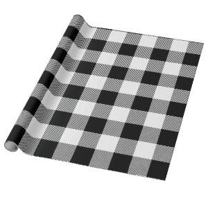 Black and White Buffalo Plaid Wrapping Paper