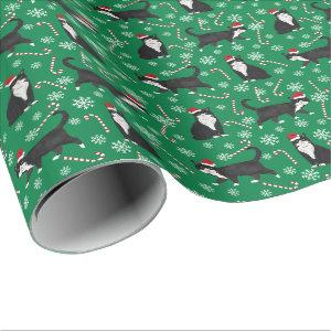 Black and White Cat Christmas pattern Wrapping Paper