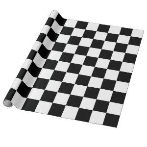 Black and White Checkerboard Pattern Wrapping Paper