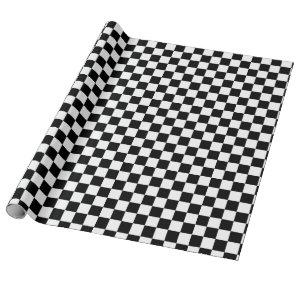 Black and White Checkered Racing Flag Pattern Wrapping Paper