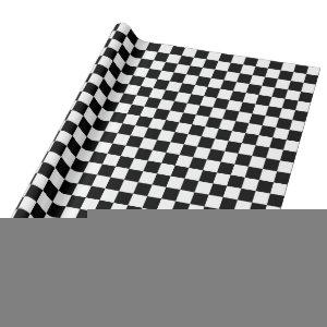 Black and White Checkered Squares Wrapping Paper